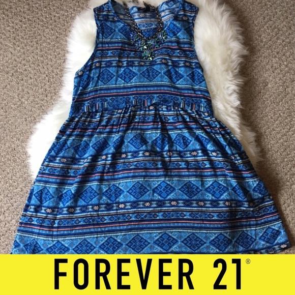 Forever 21 Dresses & Skirts - Forever 21 Blue Tribal Mini Dress - SZ: Small